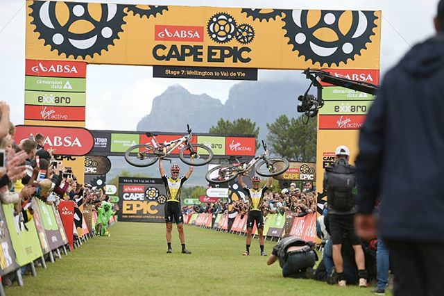 There are winners (@iamspecialized_mtb), and then there are Conquers!  Well done team 2 big for completing @capeepic & earning the title of #ConquerAsOne!  @absa #capeepic #mtb