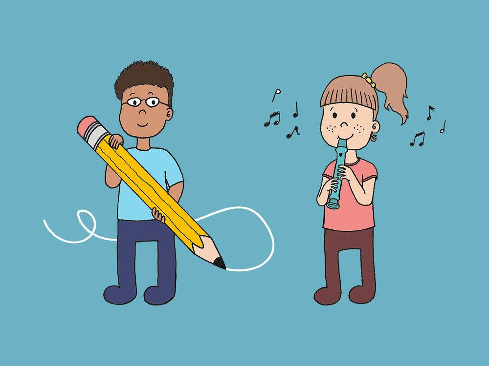 remi & solfa - Op de cover van het blokfluitboek zien we de twee karakters die in het boek vaker terugkomen: Remi en Solfa.Binnenin wordt de illustratie van Remi gebruikt voor de opdrachten en die van Solfa voor de liedjes.Is het je al opgevallen dat de lettergrepen van de namen Remi en Solfa afgeleid zijn van het liedje Do-Re-Mi-Fa-Sol…?