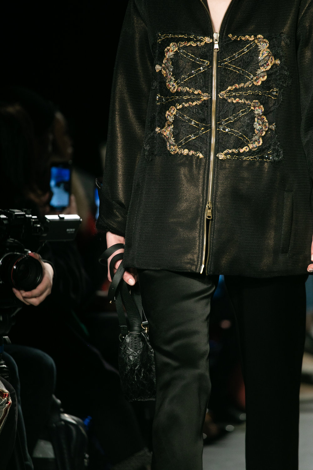 Gold Embellished Jacket - A limited edition piece with gold embroidery detailing layered with lace.