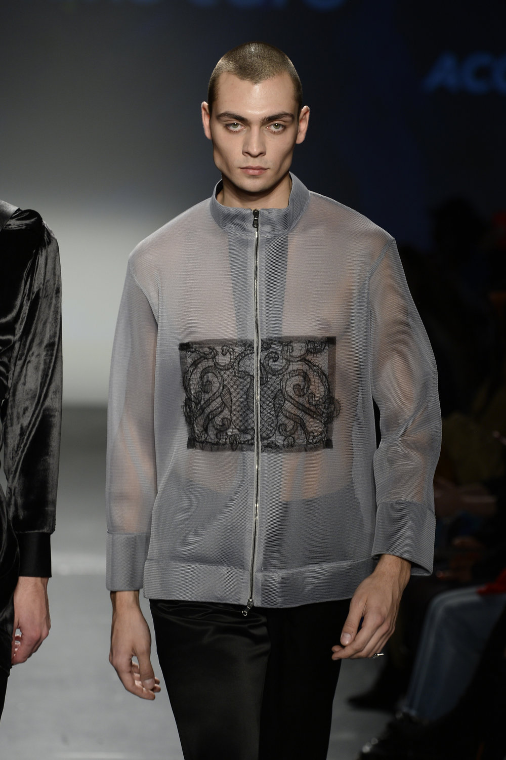 Mesh Jacket with Lace Appliqué - A gender fluid piece made from Japanese mesh and French lace.