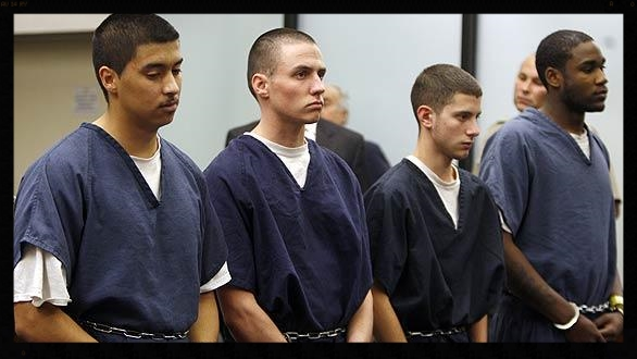 From Left: Defendants Esteban Nuñez, Ryan Jett, Rafael Garcia, Leshanor Thomas.