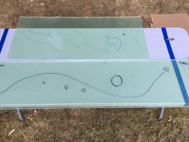 "the 2 new large panels, ""Journey to the Sun"" & ""Dreaming of Home"". Showing the draw guide for the resin and flows to come."