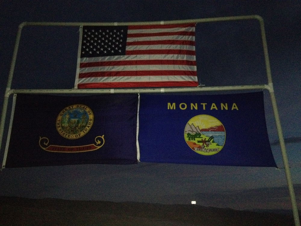 Flags identifying our location on the Continental Divide between Idaho and Montana, also at the race start.