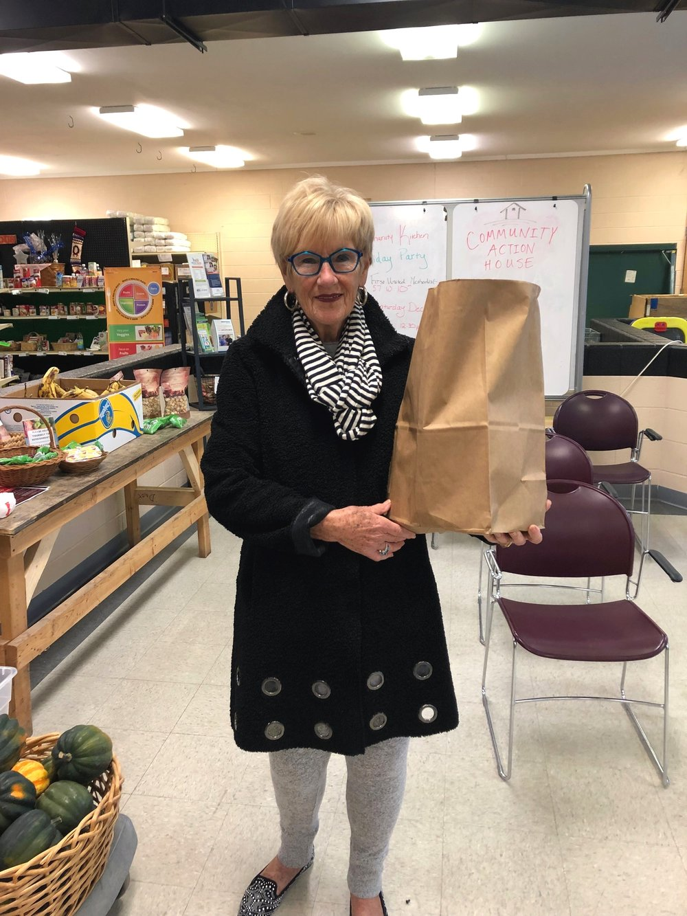 """Kay brought her food donation to us, items collected during a """"reverse advent calendar"""""""