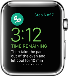 Glances. WatchKit apps can incorporate Glances. Simply by swiping up from your watch face, you'll be able to see the latest news and sports scores, travel itineraries, or the next step of your favorite recipe.