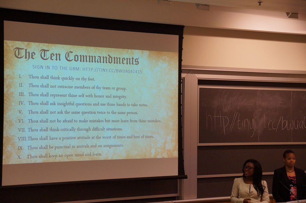Director of Alumni Relations Fola Onifade and Director of Membership Sydney Williams dove right in starting off the GBM with their Ten Commandments for entering the workplace.