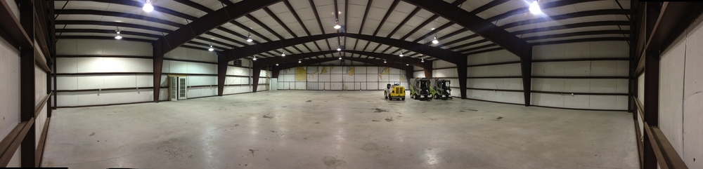 View of hangar space from back wall.