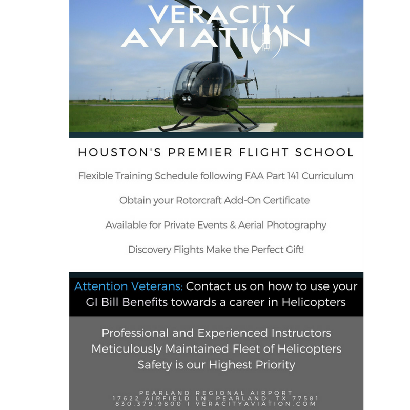 Veracity Aviation is the Premier Helicopter Training provider in the Houston Area! Headquartered in Seguin, TX since 2008, Veracity offers many solutions to your rotorcraft needs. The Pearland location has been active since July of 2016, offering flight training, tours, aerial photography, and private event bookings. Eric and TJ are both Veterans who bring their knowledge and experience to KLVJ 6 days a week, helping local pilots reach new heights. Their fleet of Robinson Helicopters includes the R22 and R44, and they can customize your training to fit your needs as the only part 141 Helicopter training facility in Houston. Find out more about the flight school by visiting their website www.veracityaviation.com or by calling Veracity HQ at (830) 379-9800! Don't hesitate to swing by the office and say hello to Eric and TJ, they are always happy to help!