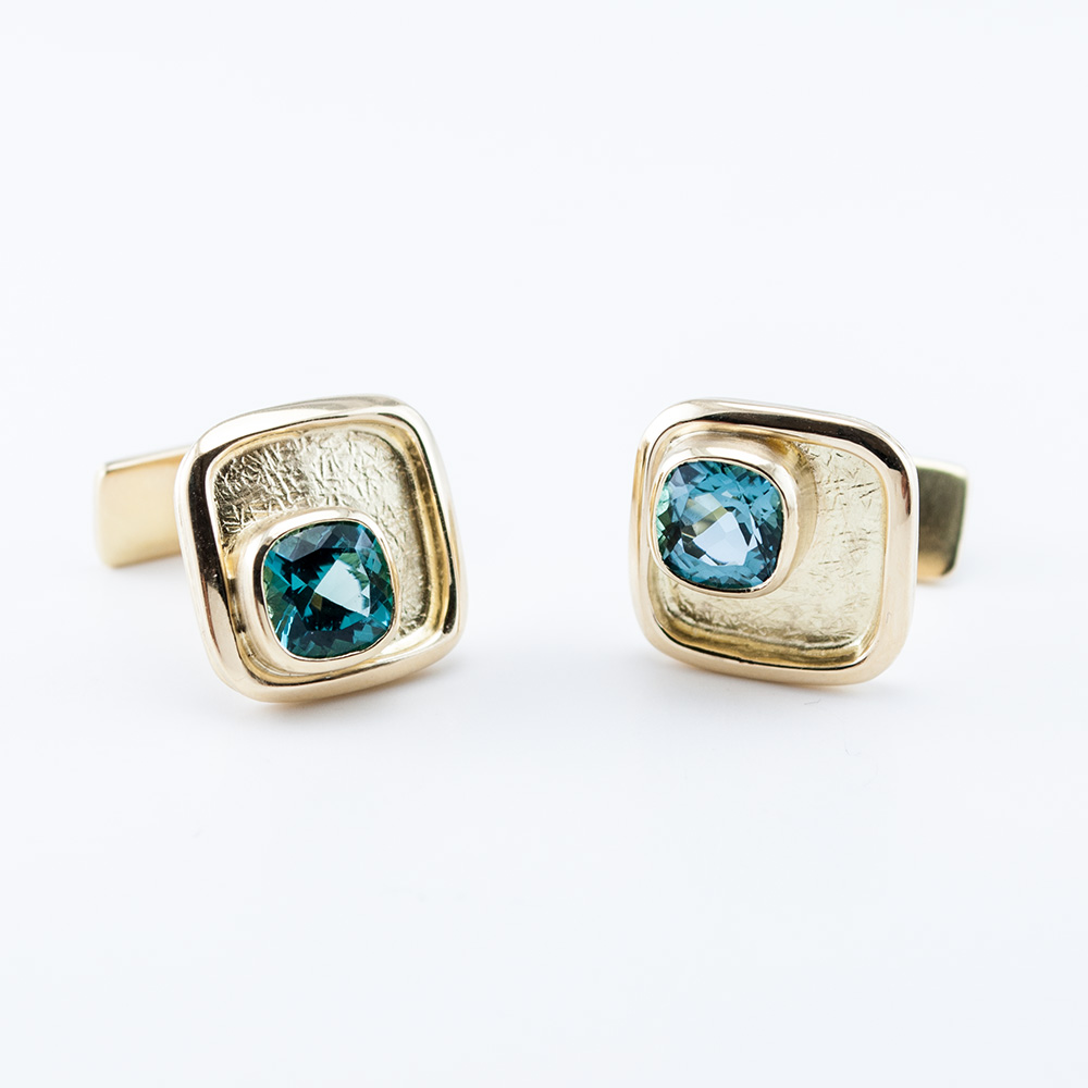 Textured Cufflinks with Cushion Tourmalines
