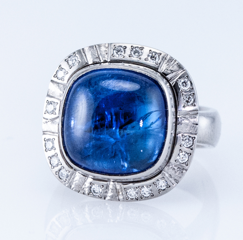 Halo Cocktail Ring with Tanzanite Cabochon