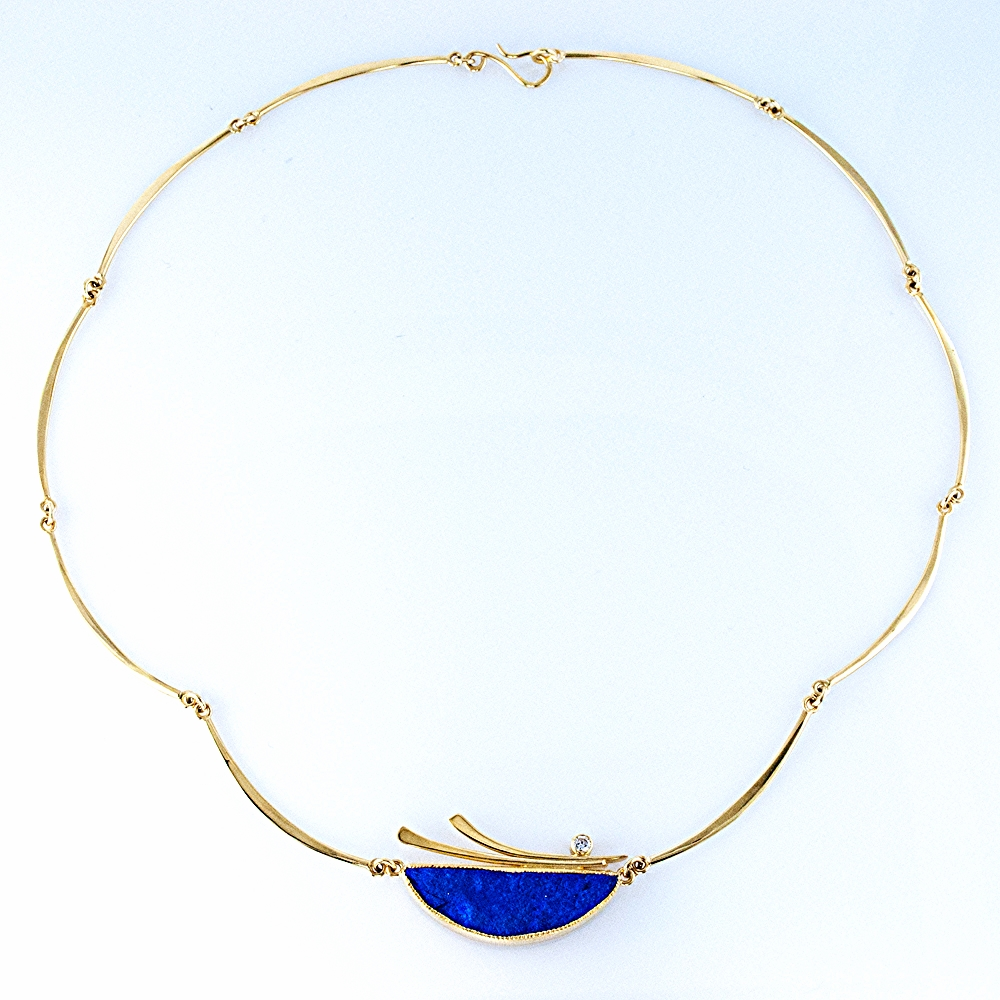 Lapis Crescent Link Necklace