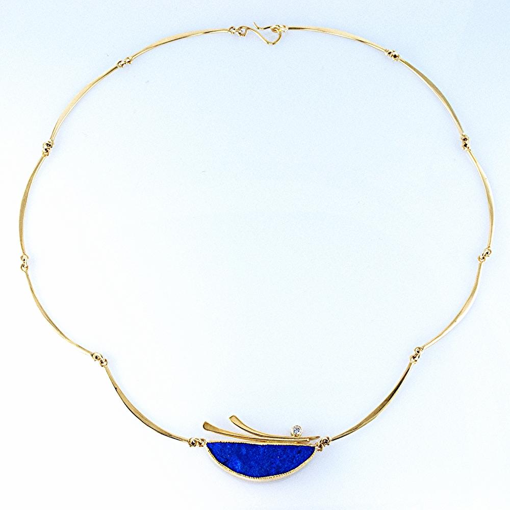 Lapis Crescent Link Necklace