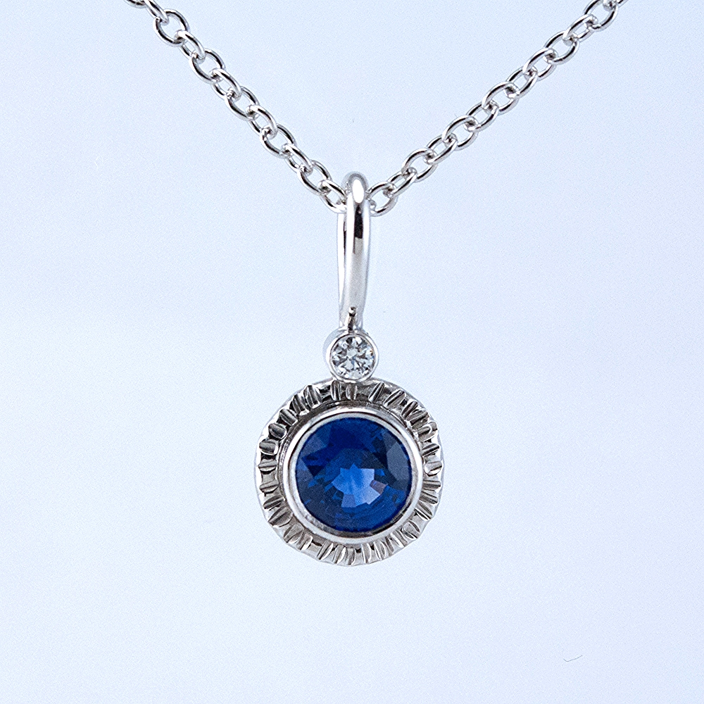 Platinum Lollipop Pendant with Sapphire and Diamond