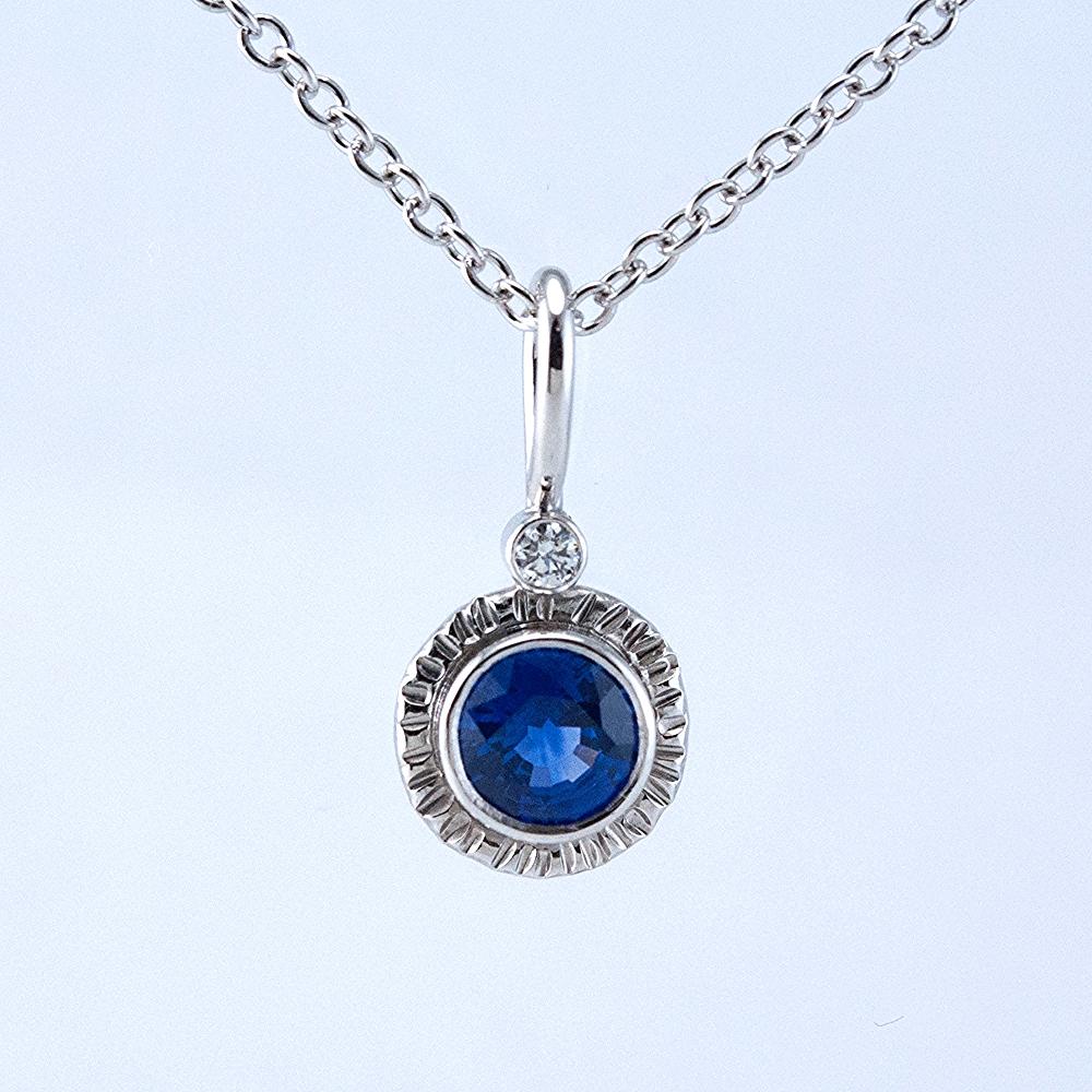 Platinum Lollipop Pendant with Sapphire and Diamond