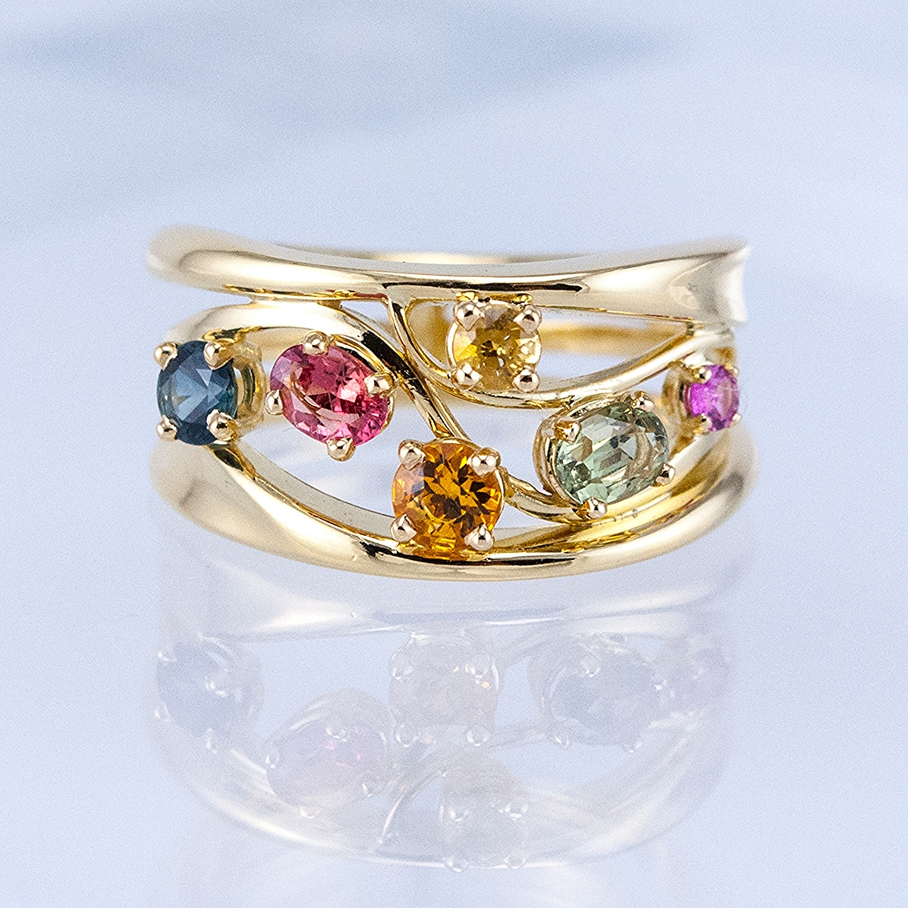 Custom Constellation Ring with Fancy Sapphires