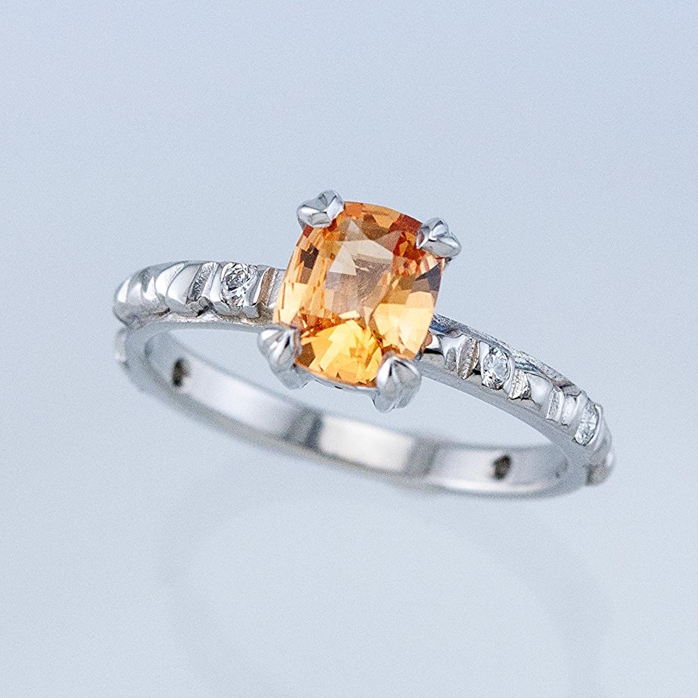 Platinum Mesa Ring with Peach Sapphire