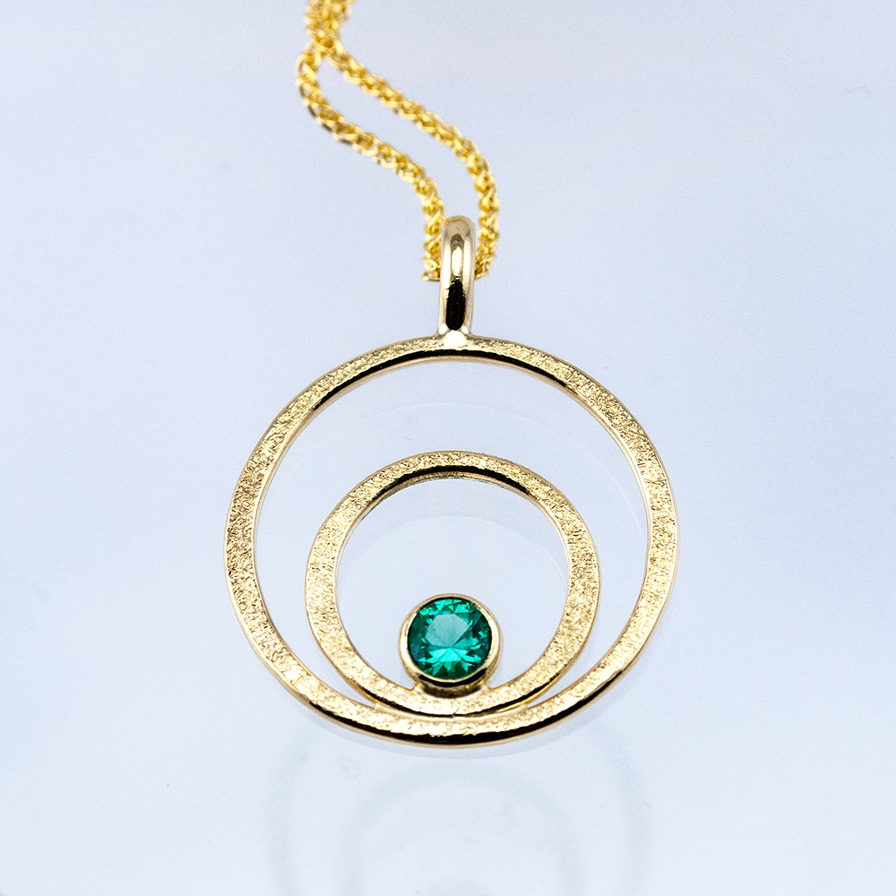 GEO Double Circle Pendant with Emerald