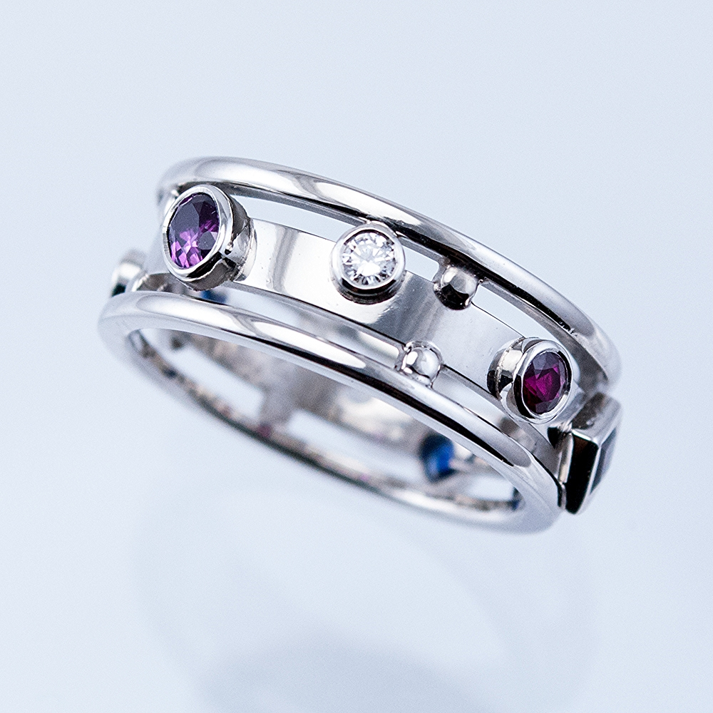 Custom Memory Ring with Diamonds, Sapphires and Rubies