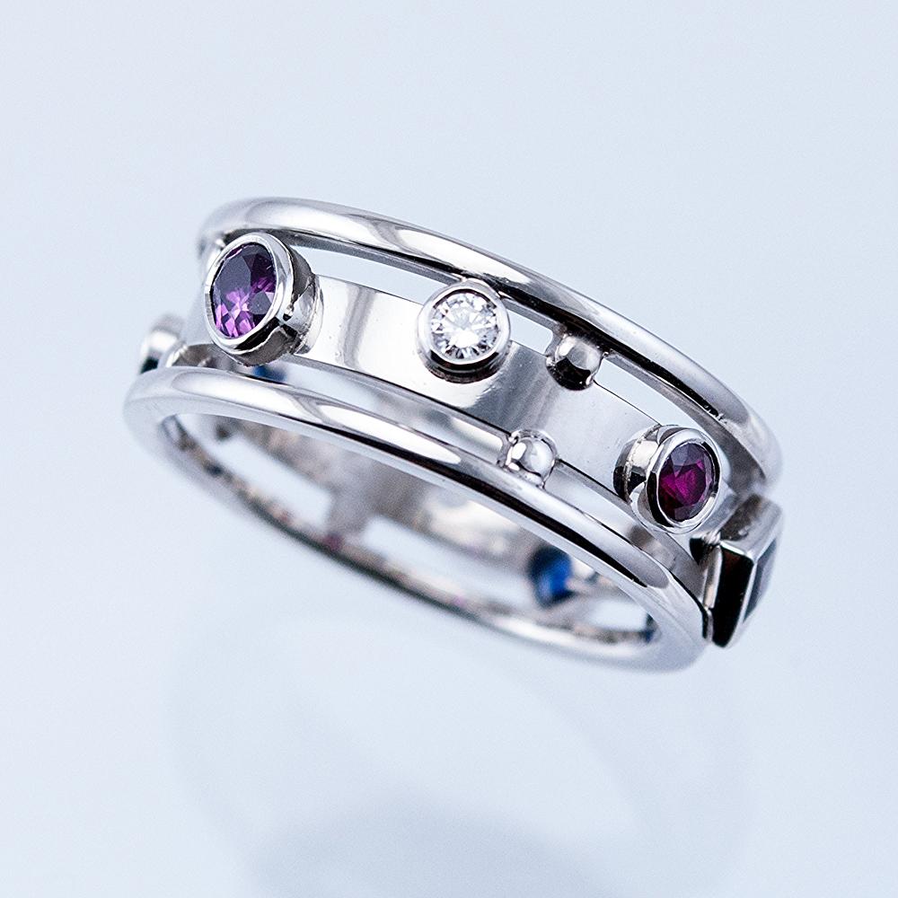 Custom Memory Ring with Diamonds, Sapphires and Rubies