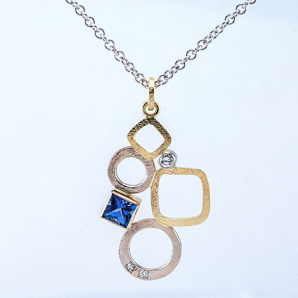 Custom GEO Pendant with Tanzanite and Diamonds