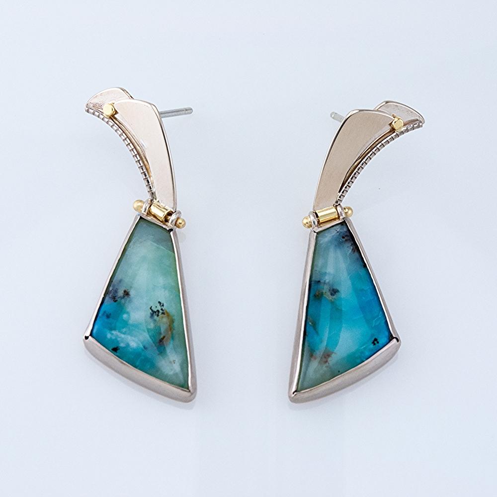 Blue Dendritic Opal Earrings