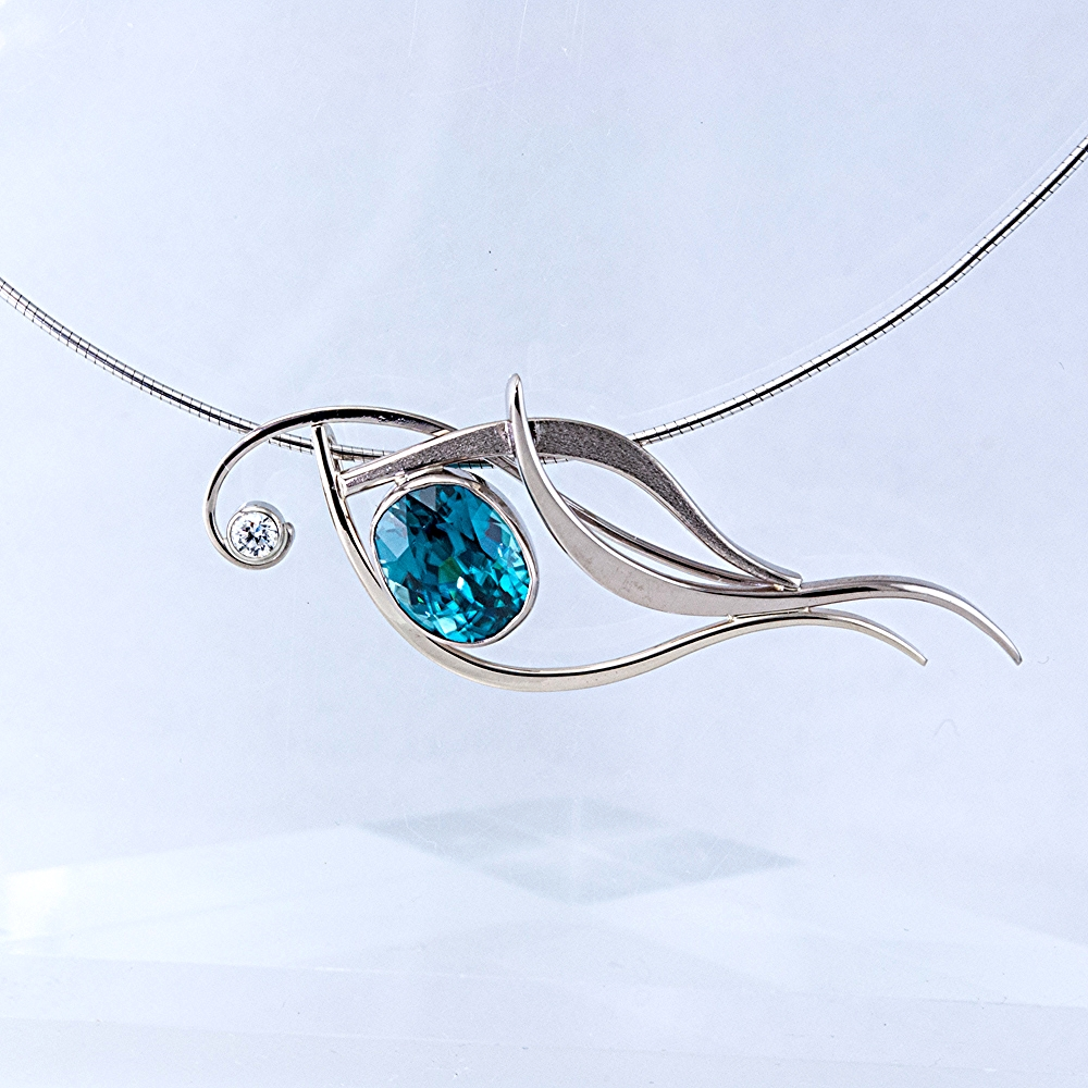 Blue Zircon and Diamond Pendant Slide