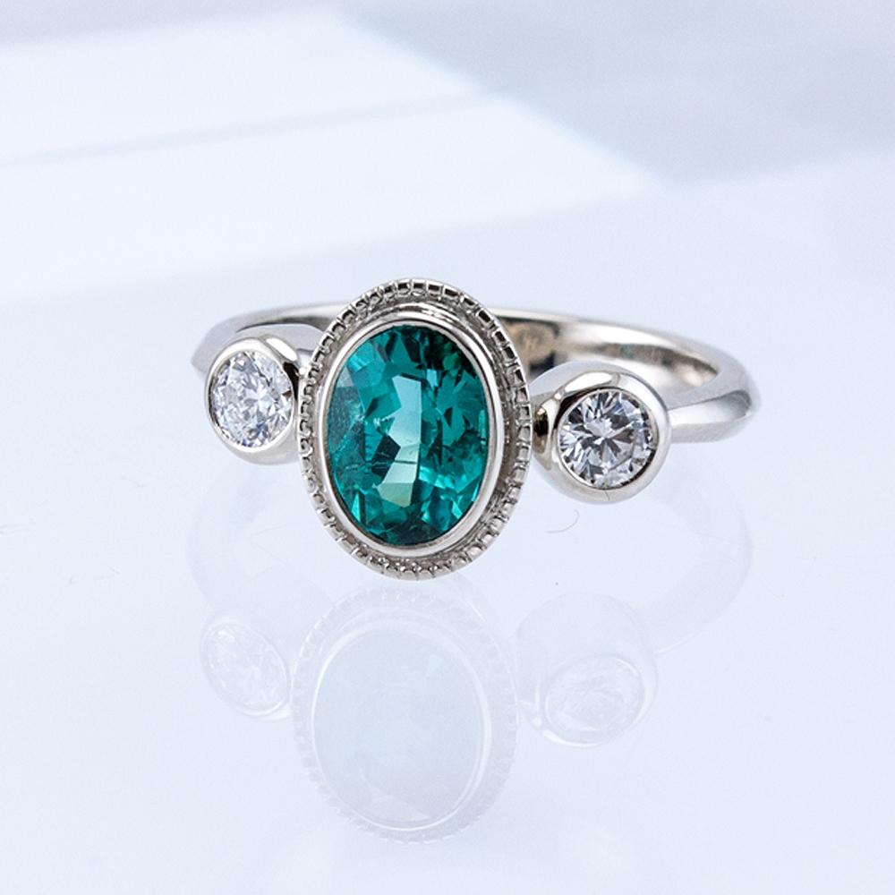3 Bezel Ring with Blue Tourmaline and Diamonds
