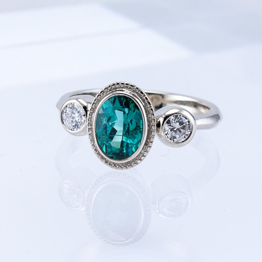 3 Bezel Ring with Blue Tourmaline and Diamonds