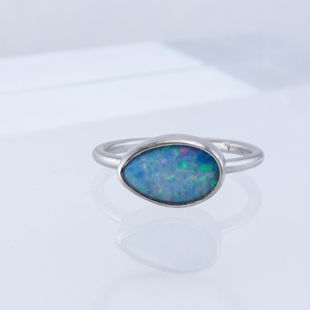 Palladium Opal Stacking Ring