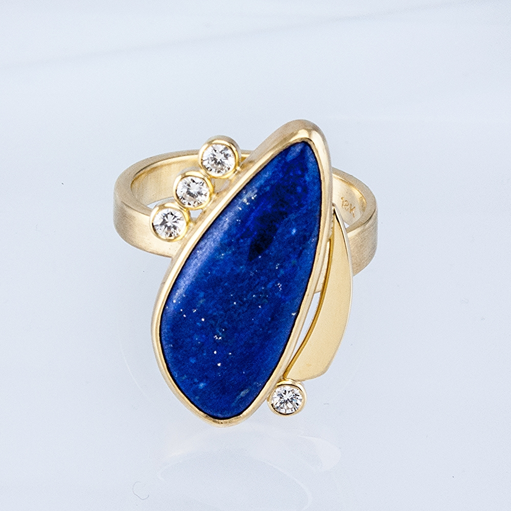 Custom Freeform Lapis Ring with Diamonds
