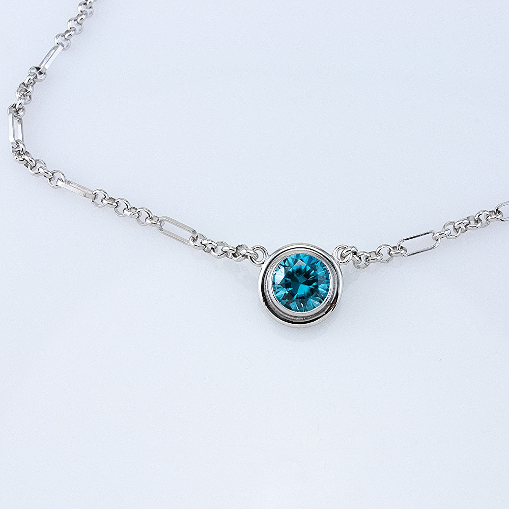 Platinum Lollipop Necklace with Blue Zircon
