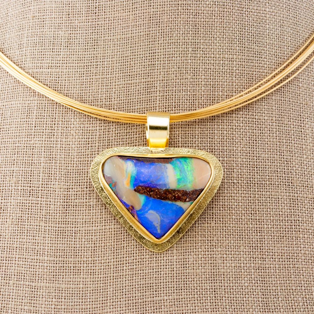 Triangular Boulder Opal Pendant