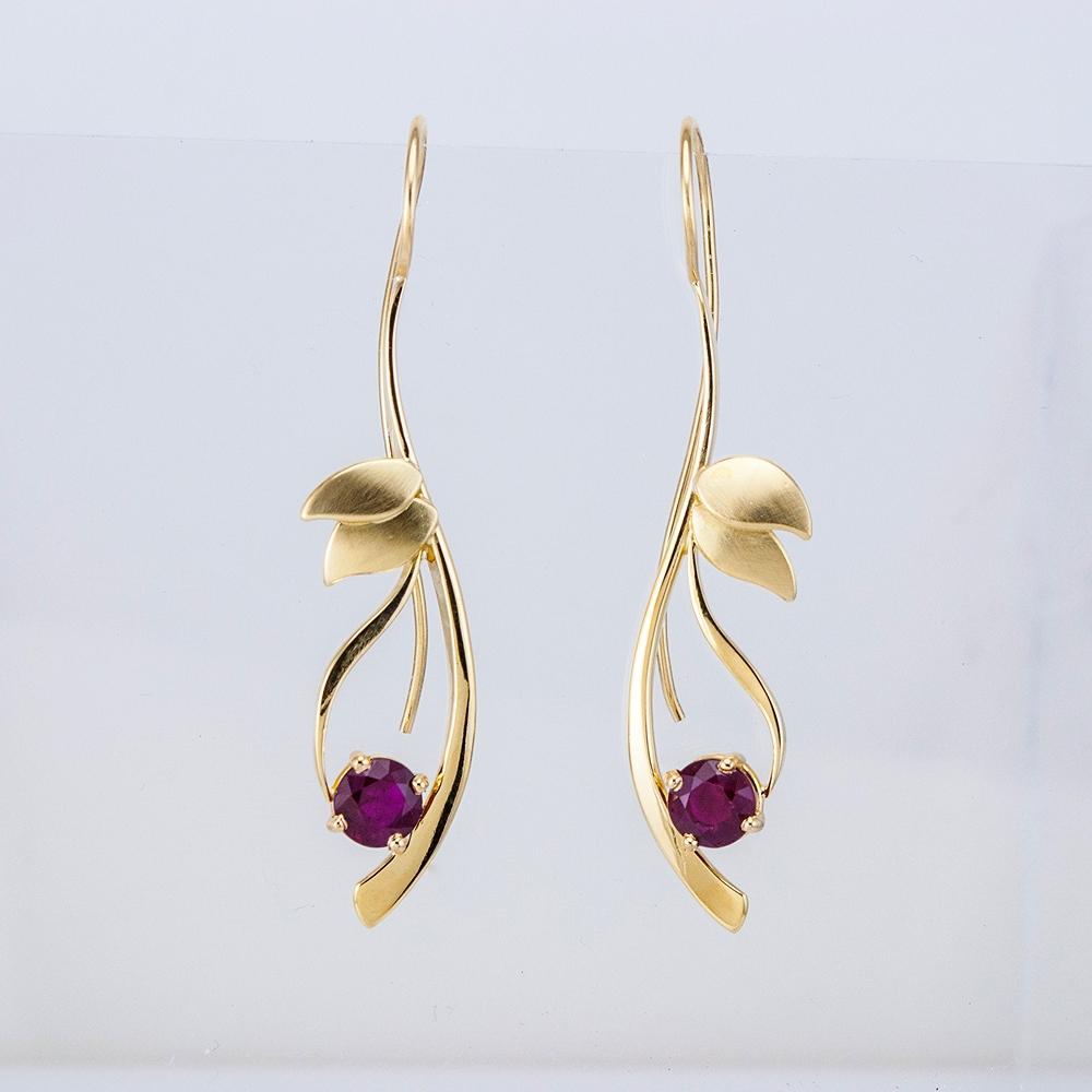 Reeds Earrings with Rubies