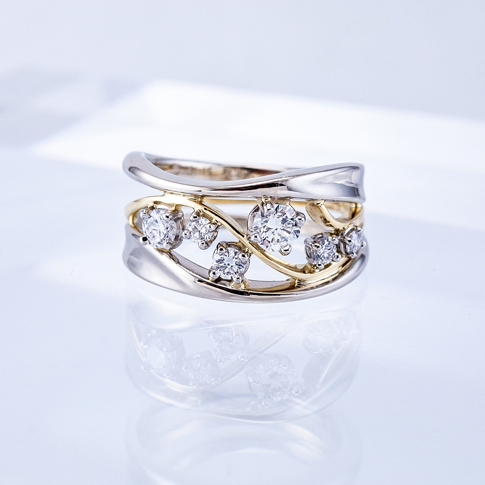 Two-tone Constellation Ring, platinum settings