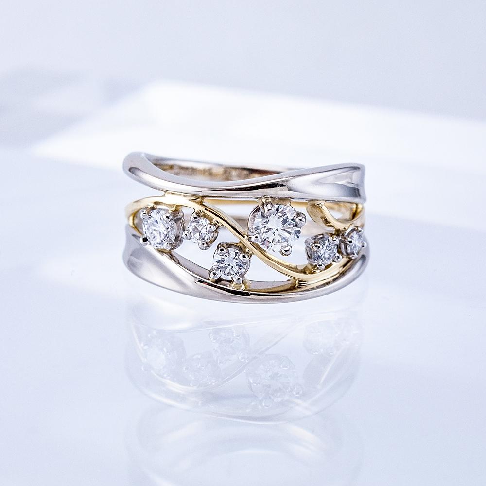 Two-tone Constellation Ring, platinum settings