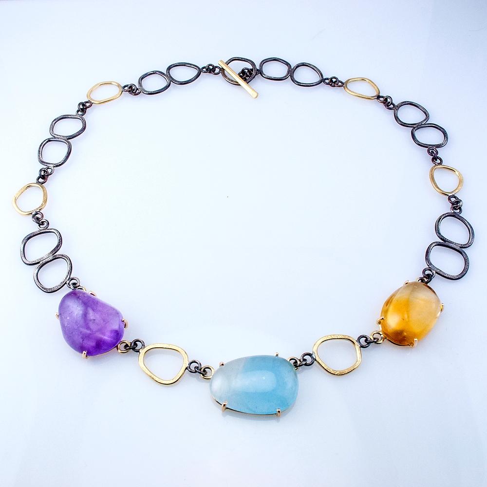 Custom GEO Link Necklace with Amethyst, Aquamarine and Citrine