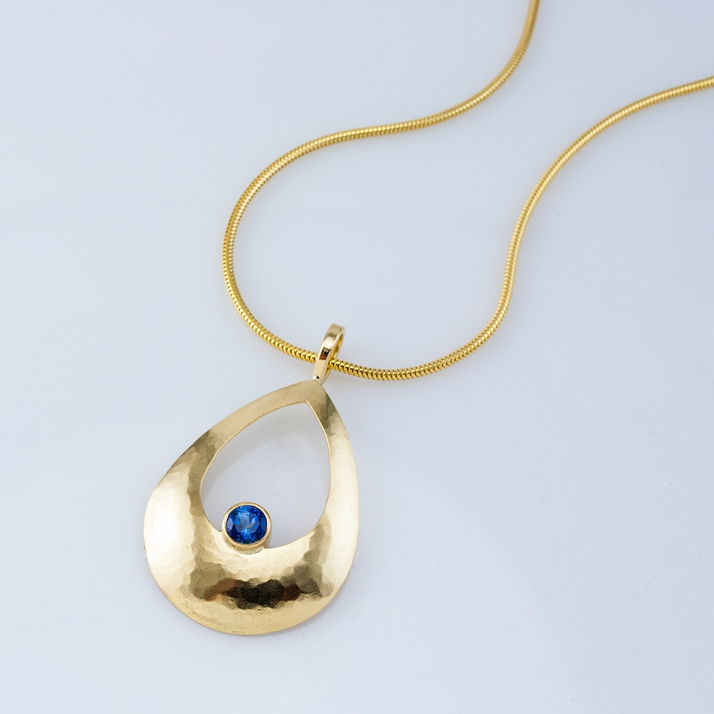 Pear Luna Pendant with Blue Sapphire
