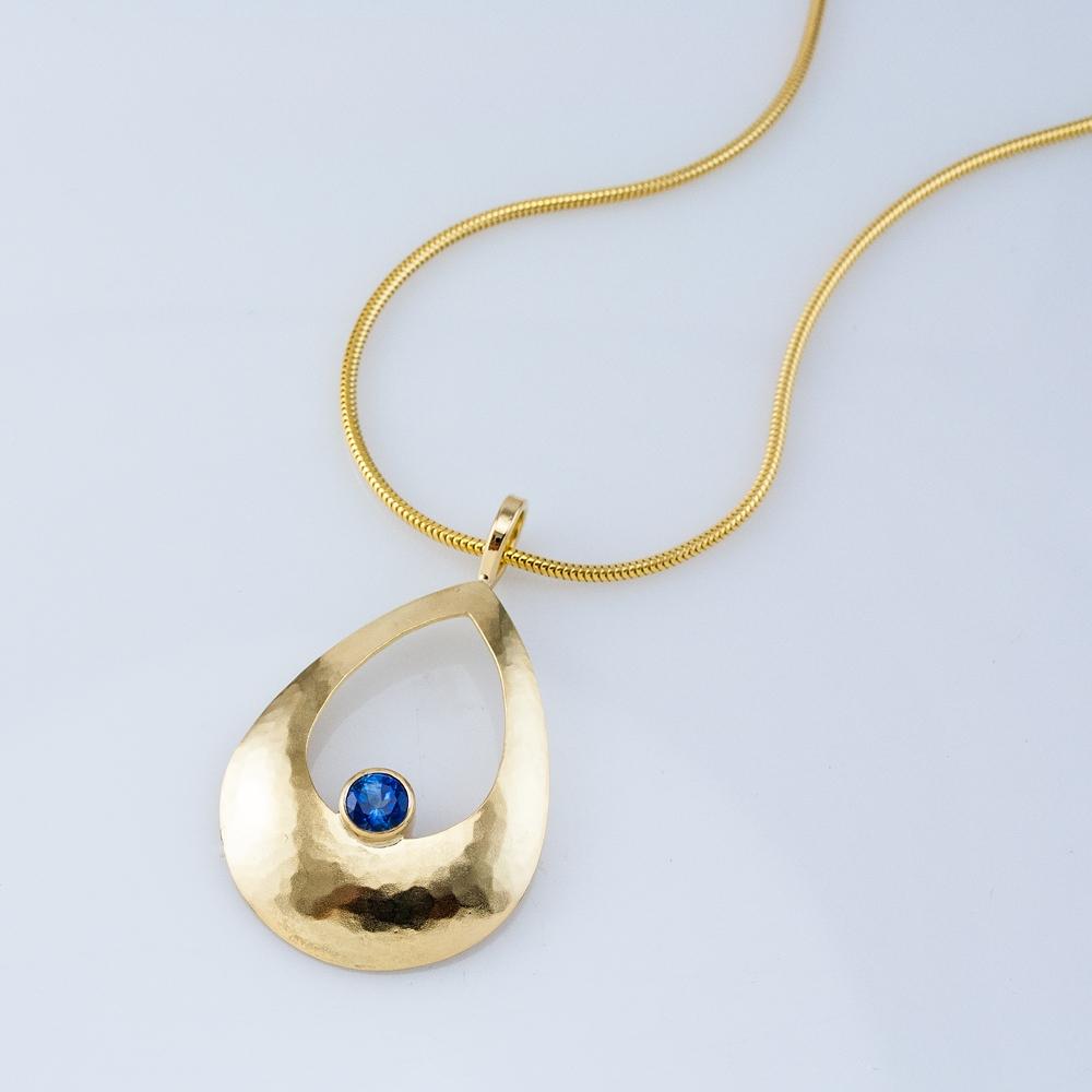 Pear Luna Pendant with Blue Sapphire