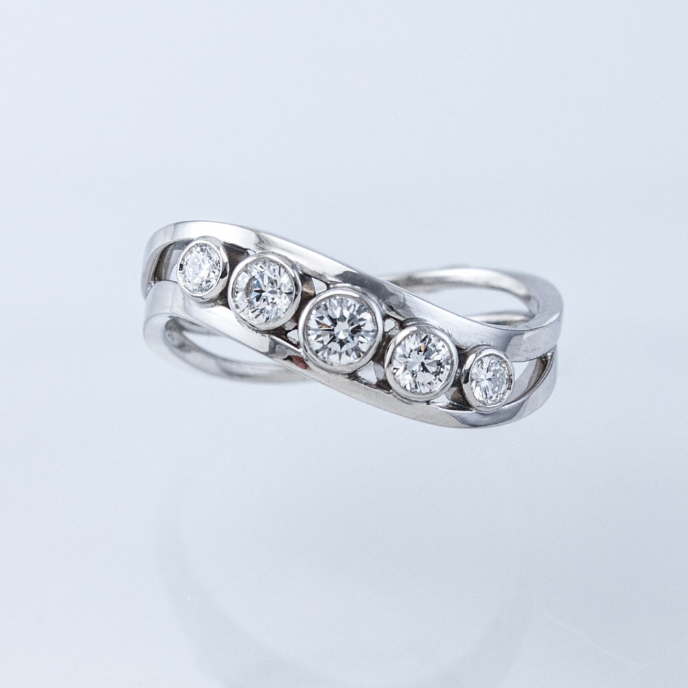 Tideline Bezeled Five Diamond Ring