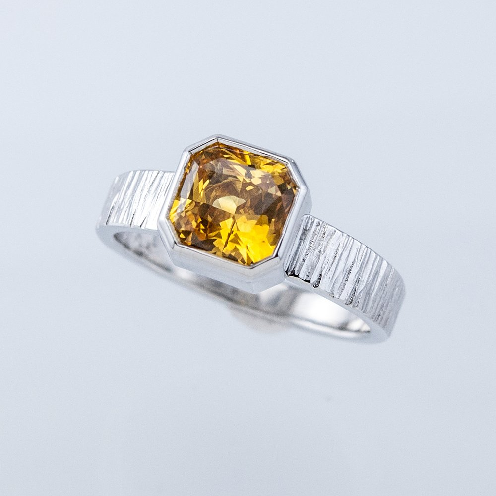 Haymarket Ring with Radiant Yellow Sapphire