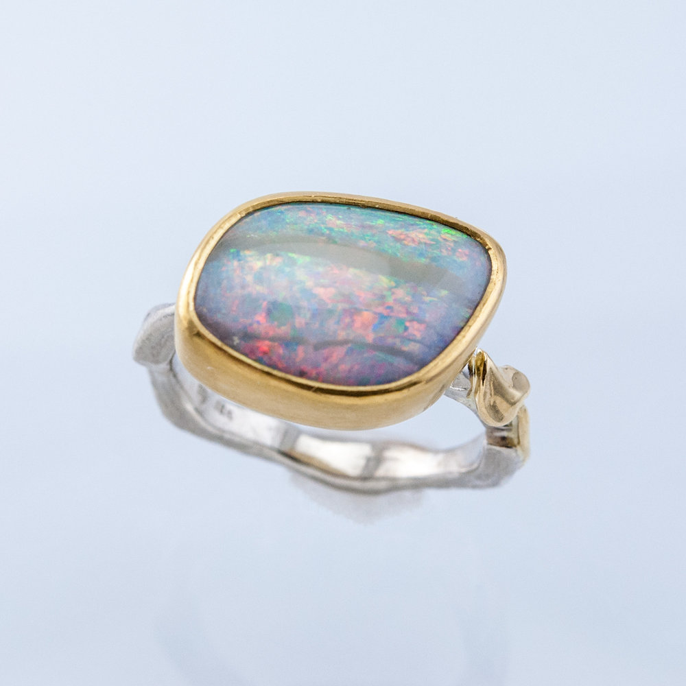 Twig Ring with Freeform Boulder Opal