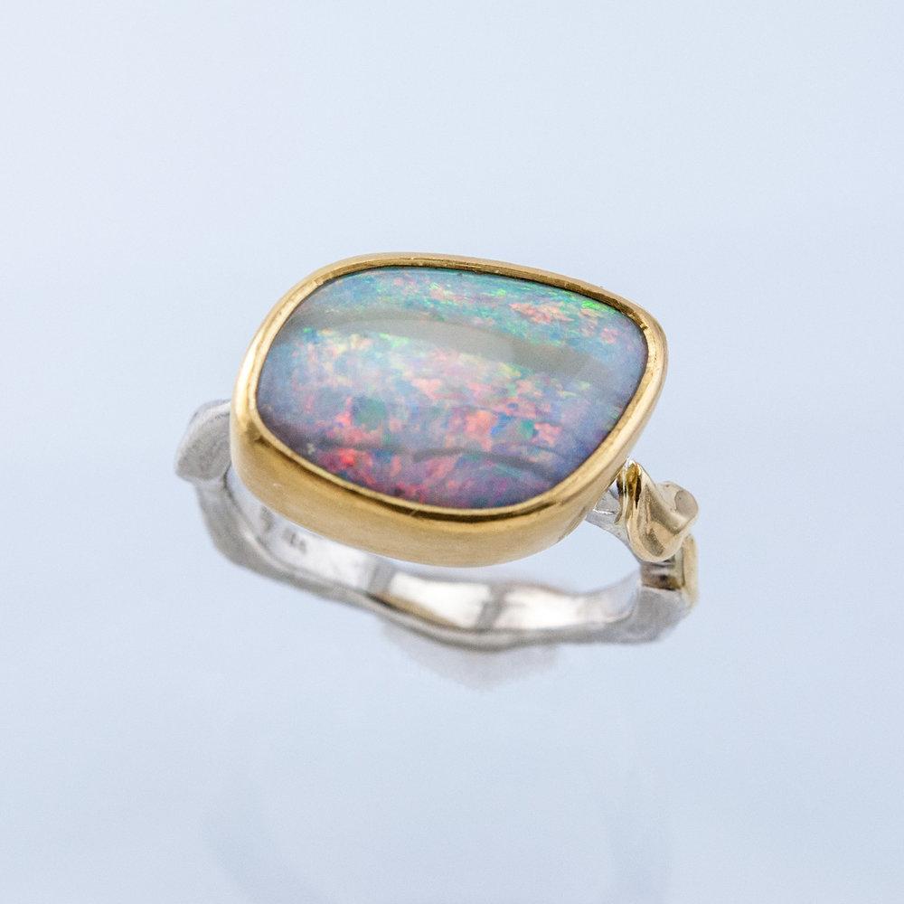 Twig Ring with Freeform Boulder Opal