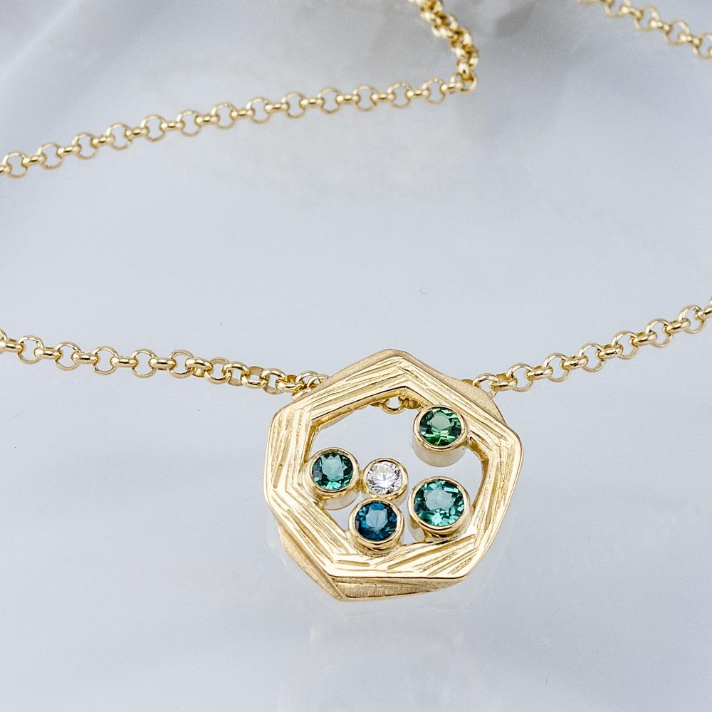 Nest Pendant with Tourmalines and Diamond