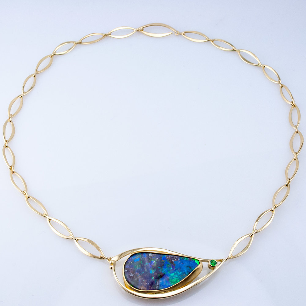 Minnow Necklace with Large Boulder Opal