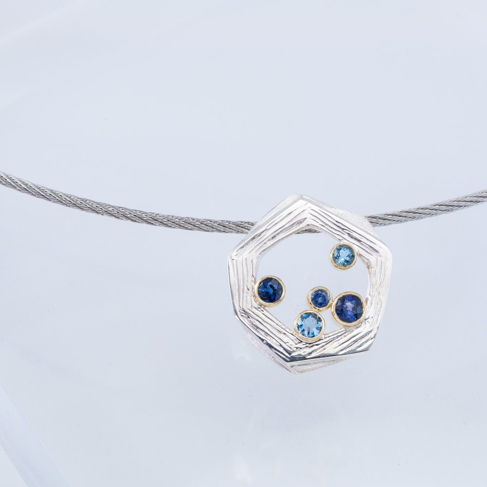 Nest Pendant with Sapphires and Aquamarines