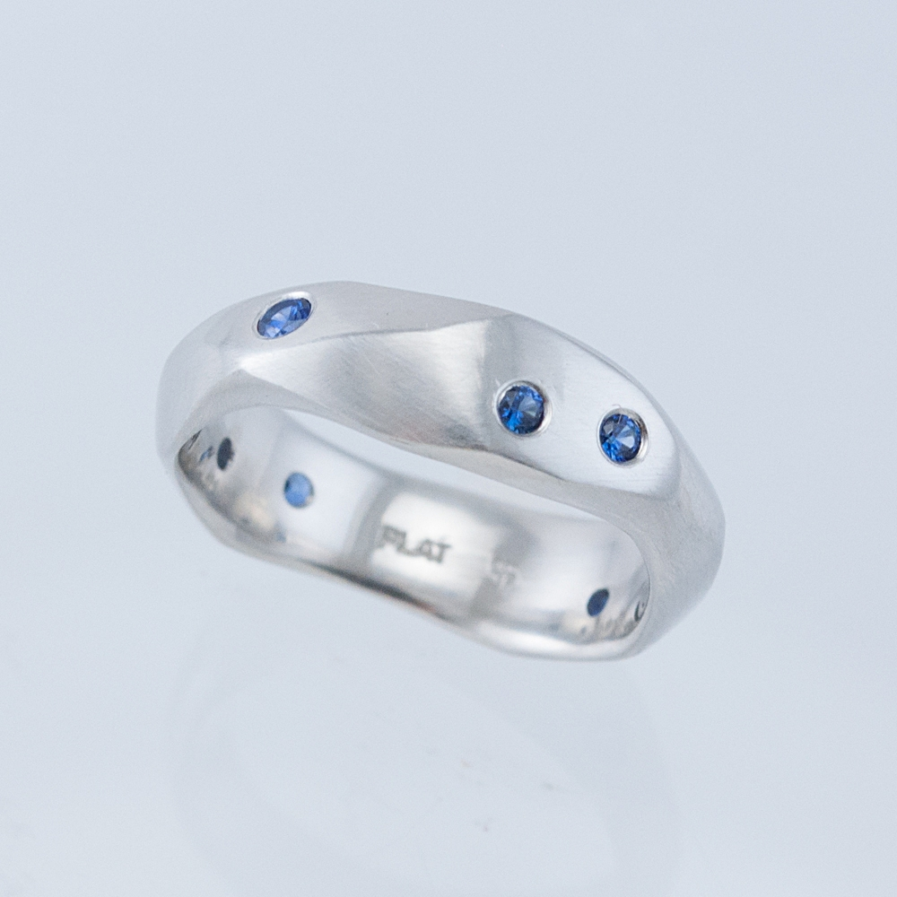 Wide Desert Band with Sapphires