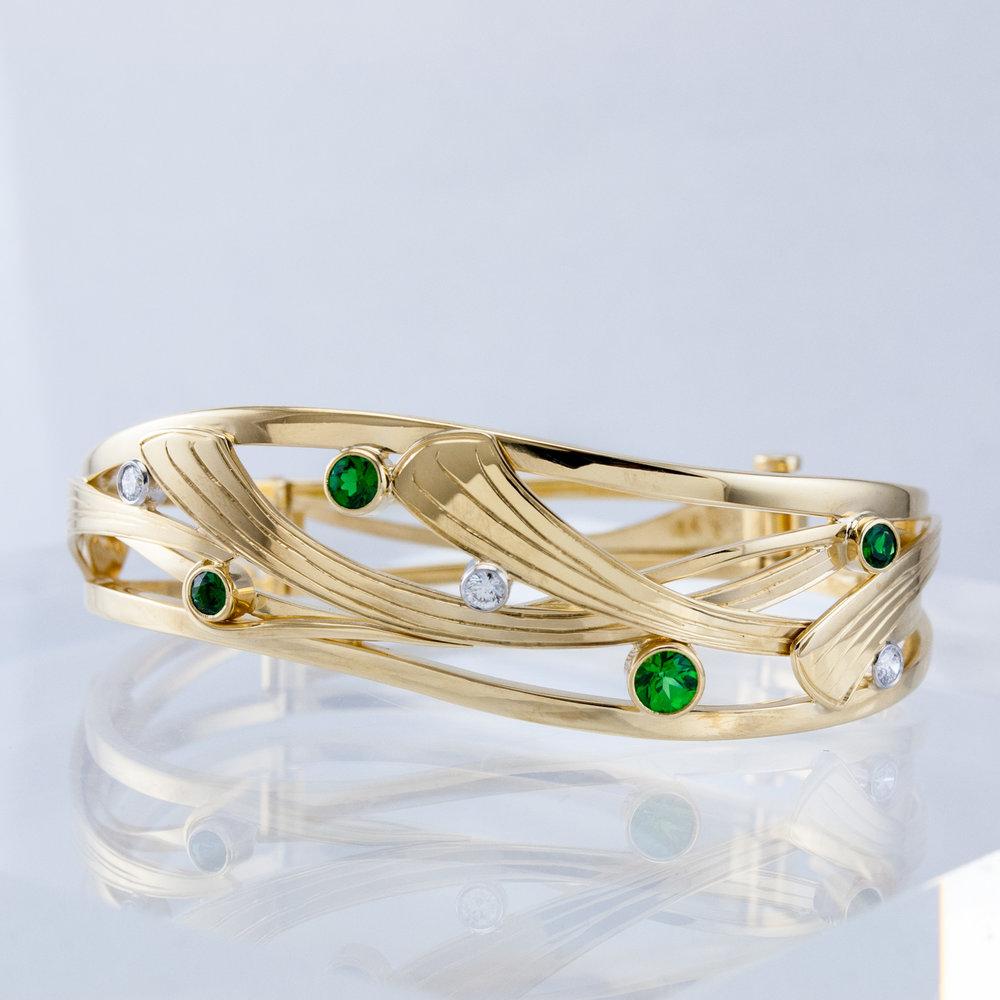 Custom Bracelet with Tsavorites and Diamonds