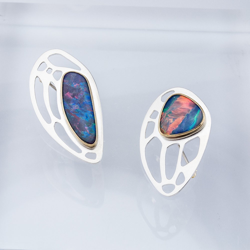 Butterfly Wing Pins with Boulder Opal