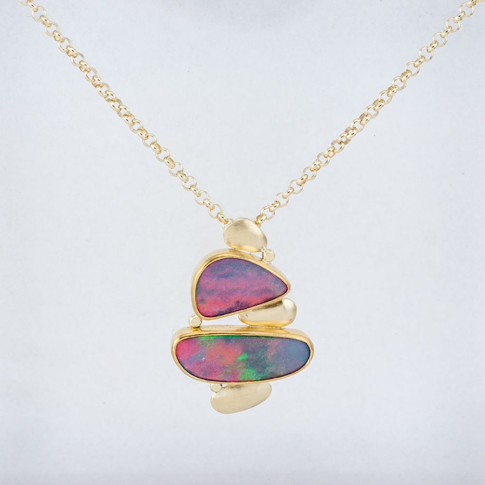 Cairn Pendant with Opal Doublets