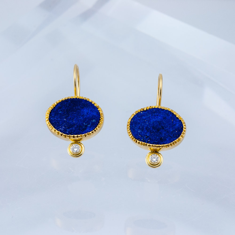 Rough Lapis Drop Earrings